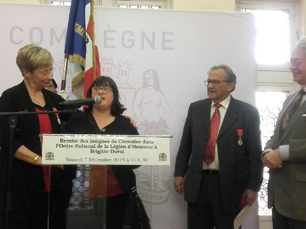 La présidente de l'Unapei de l'Oise, Brigitte Duval chevalier de l'Ordre de la Légion d'Honneur.
