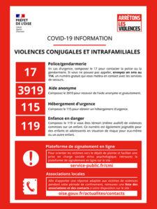 """Covid-19 information """"Violences conjugales et intrafamiliales"""""""