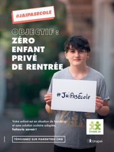 L'Unapei et ses partenaires relancent la campagne de mobilisation citoyenne #jaipasécole